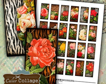 Animal Print Roses, Collage Sheet, 1x2 Domino Images, Animal Print, Domino Collage Sheet, Pendant Images, Decoupage Paper, 1x2 Collage Sheet
