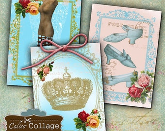 Shabby Royalty Digital Collage Sheet 2.5x3.5 ATC Size Shabby Chic Digital Images for Greeting Cards, Scrapbooking, Journalling, ACEOs, Tags