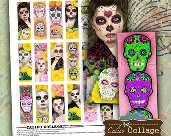 Day of the Dead, Printable Images, 1x3 Collage Sheet, Dia de los Muertos, Sugar Skulls, Digital Microslides, Images for Pendants