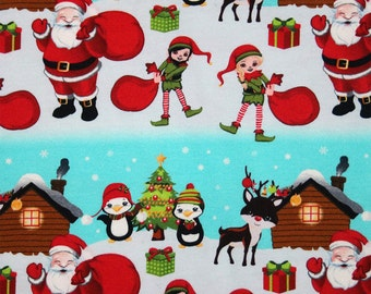Santa and helpers North Pole knit  1 yard cotton lycra knit euro import