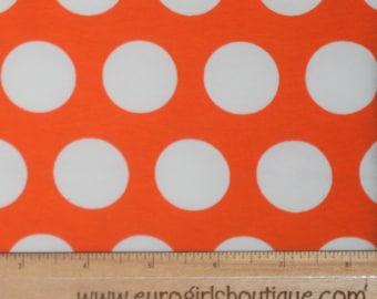 Knit really orange large gymbo dots 1 yard cotton spandex