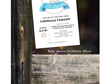Baby shower invitation custom designed and personalized dotted elephant center girl boy shower
