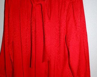 OLEG CASSINI Red Silk Blouse size M