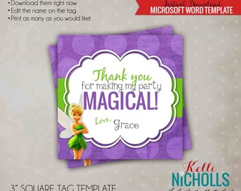 Tinkerbell Girl's Birthday Party Custom Favor Tag Template, Instant Download #B133