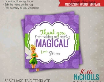 Tinkerbell Girl's Birthday Party Custom Favor Tag Template, Instant Download