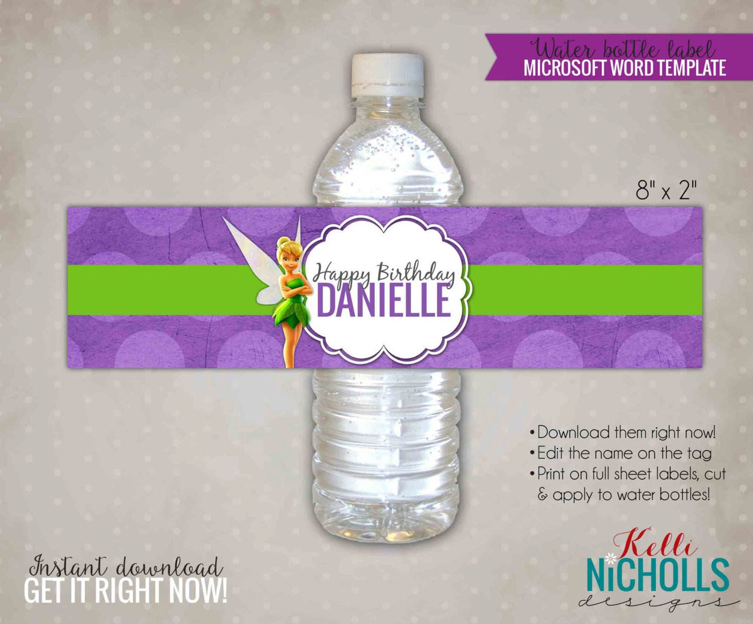 tinkerbell water bottle label template by kellinichollsdesigns. Black Bedroom Furniture Sets. Home Design Ideas