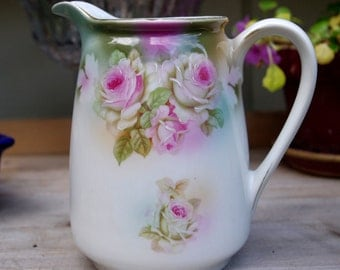 Hand Painted Water Jug Pitcher with Pink Roses Bavaria