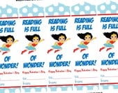 Wonder Woman Valentines Day Bookmarks, Printable INSTANT DOWNLOAD