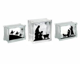 Nativity Vinyl Decal Etsy - Nativity vinyl decal for glass block light