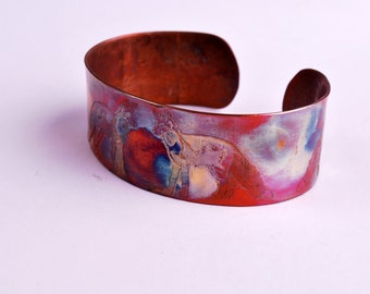 New! Etched copper fox cuff bracelet