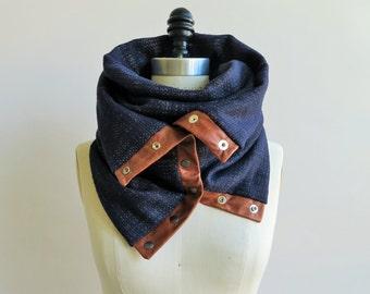 Indigo double gauze circular infinity scarf