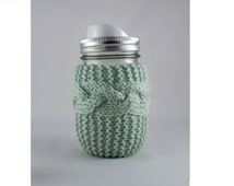 Honey Dew Hand Knit Mason or Ball Jar Cozy Coaster
