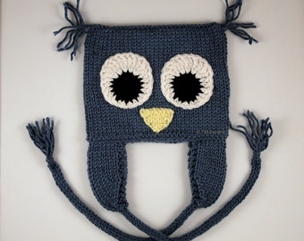 Owl Ear Flap Hat Beanie 6-12mo