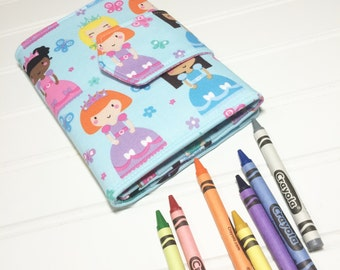 Princess crayon wallet, Princess toy, Crayon organizer, Kids toy storage, Kids travel wallet, Girls Wallet, Kids quiet toy. Crayon roll up