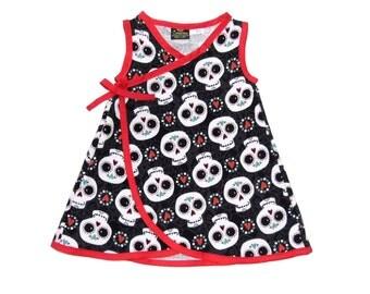 Dia De Los Muertos - Sugar Skull Girl - Skull Clothing - Girls Dresses - Punk Rock Clothing - Red Dress - Day of the Dead -  4T - 5T - 6