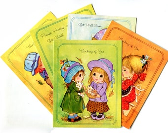 Vintage Cute Kids Small Greeting Cards 1980s Holly Hobbie Style Thinking of You, Get Well, Thank You Bible Verse Vintage Paper Stationery