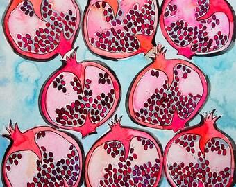 Watercolor Pomegranate Art Print, Fruit Painting, Pomegranate Painting, Wall Art, Wall Decor, Kitchen Art