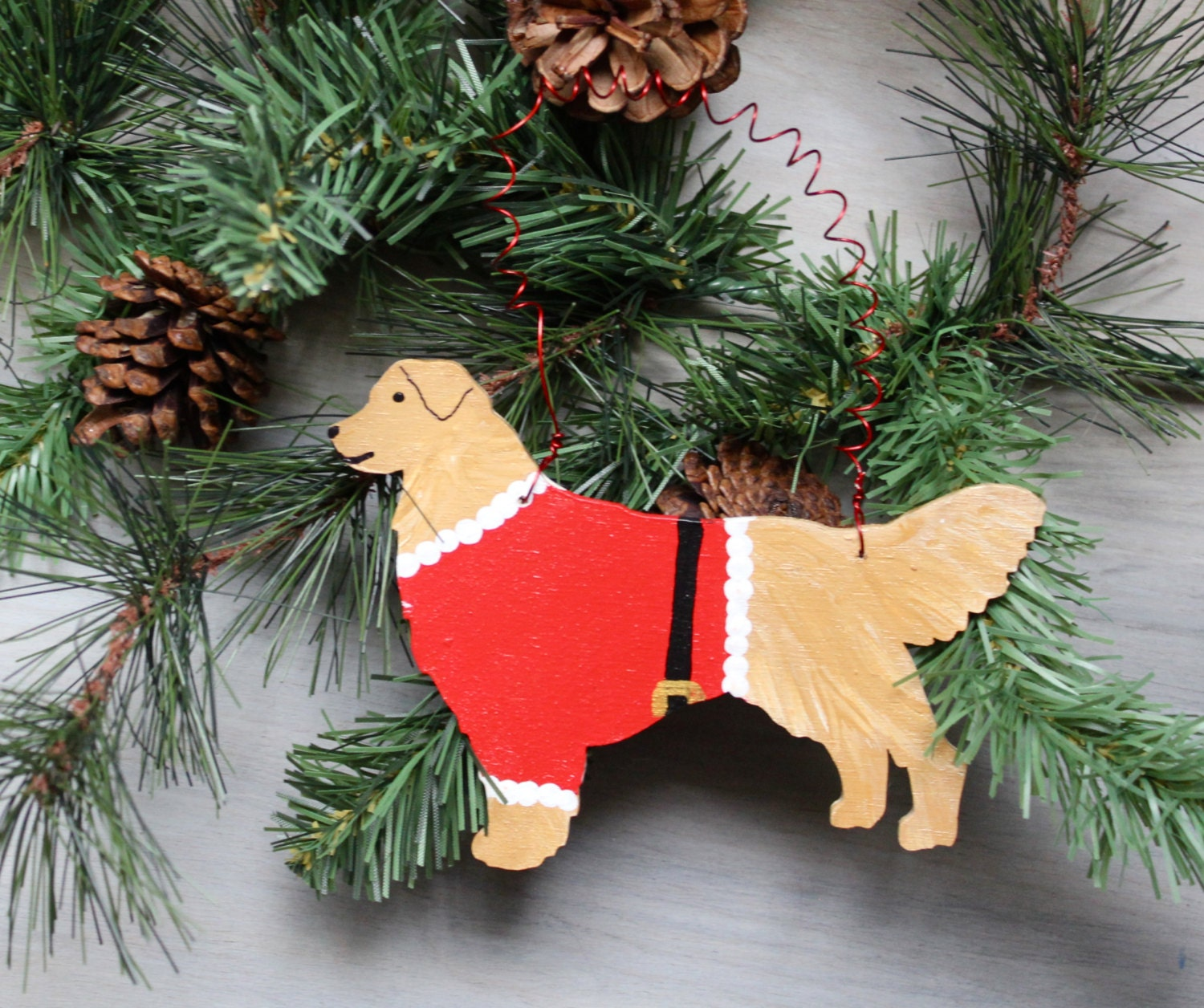 Golden Retriever Christmas Tree Ornament Santa Paws Hand Painted Wood