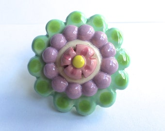 Pink Flower Knob, Mint Green Lavender, Drawer pull, Teenage Girl Knob, Girl's furniture, Dresser Drawer Knob, Ceramic Knob, Nursery Knobs