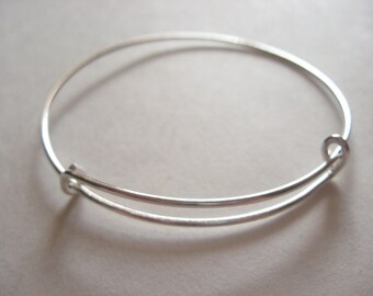 Lot of 10, 20 Silver Plated Expandable Wire Bangle Bracelets US Seller