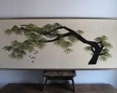 Vintage Wall Art - Tree Branch - Asian - Wall Hanging - Yarn Art - Large