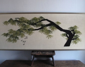 Vintage Wall Art - Tree Branch - Asian - Wall Hanging - Yarn Art - Large