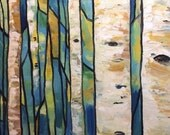Birch tree painting  Stained Glass in the Forest  12x18 inches oil paint on Canvas