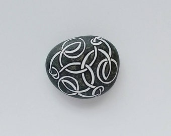 shield stone - celtic, viking, eternal knot, tattoo, hand painted