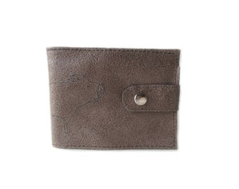 leather billfold wallet brown pig