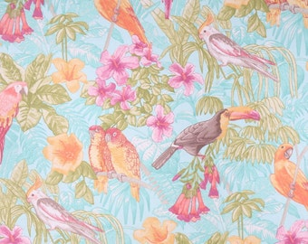Tropical Shower Curtain, Turquoise Shower Curtain, Floral Shower Curtain, Toucan Bird Bathroom Decor, Made-To-Order Fabric Shower Curtain