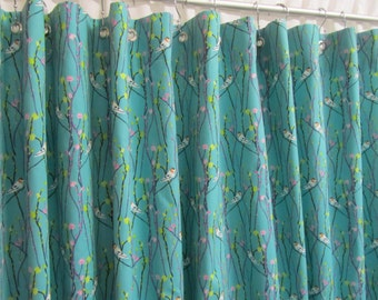 Teal Shower Curtain, Bird Bathroom Shower Curtain, Bird and Vine Shower Curtain, Teal Bathroom Decor, Jewel Tone Shower Curtain