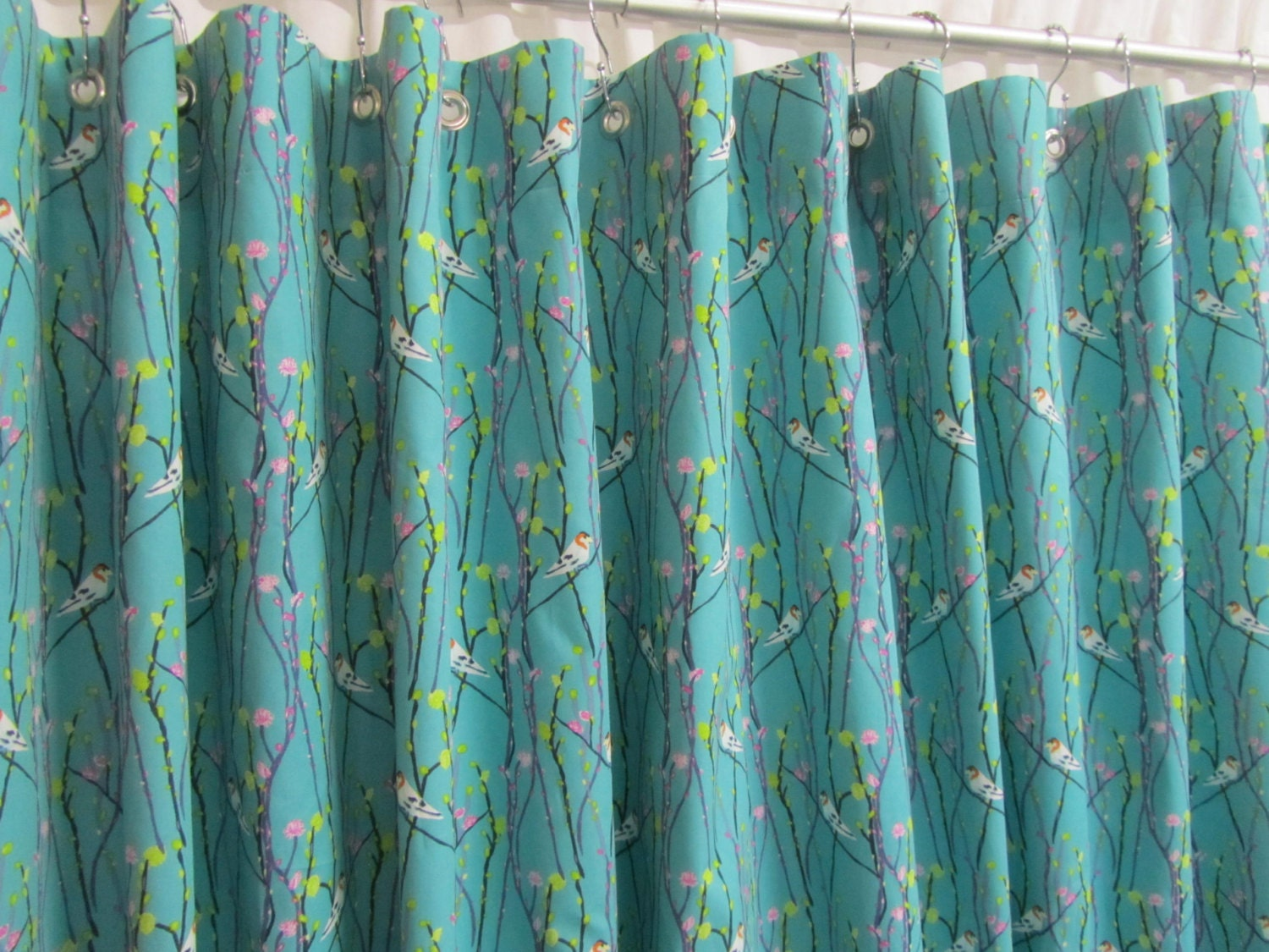 Teal Shower Curtain Etsy - Mint green shower curtain