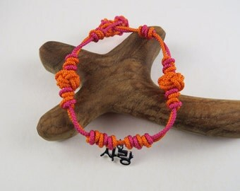 Korean Love Maedeup Bracelet - Orange and Fuschia 1003