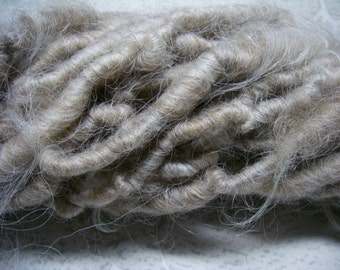 RESERVED--Handspun Shaggy Navajo Churro Wool Super Bulky Art Yarn in Natural Tan and Cream by KnoxFarmFiber for Knit Weave Embellishment