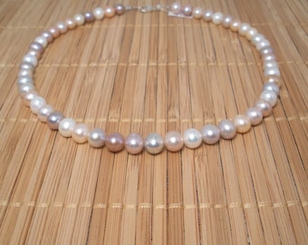 Mauve White Pearl Necklace Pearl Necklace Pearl Set Multi Mauve Pearl Necklace Freshwater Pearl 16 1/2 inch Necklace Bridal Pearls Champagne
