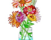Cards- set of (5)- ZINNIAS in a jar