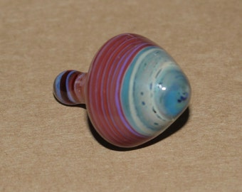 Full colour glass 'Inception' spinning top in red, cream and blue - Made by FoxGlass.