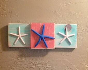 Multi-Colored Starfish Wall Decor,Colorful Driftwood Starfish Wall Art,Starfish Beach Home Decor,Sea Star Sign Starfish Art, Starfish  Art