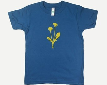 Organic Cotton Toddler Tee Shirt Dandelion Flower Blue Kids T Shirt