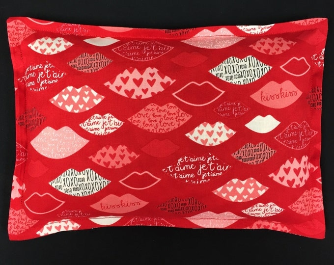 Valentines Day Corn Bags, Microwavable Heating Pad, Heat Packs, Spa Relaxation Gift, Hot Cold Therapy - Hearts and Lips