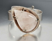 Los Castillo Bracelet, Rose Quartz Bracelet, Sterling Silver Cuff Bracelet, Modernist Taxco Bracelet, 1950s Taxco Silver Mexican Jewelry