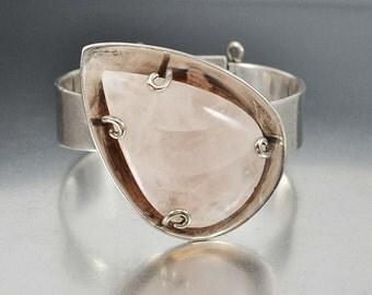 Silver Los Castillo Rose Quartz Bracelet, Modernist Sterling Silver Cuff, Mexican Taxco Silver Bracelet, Pink Stone Statement Bracelet