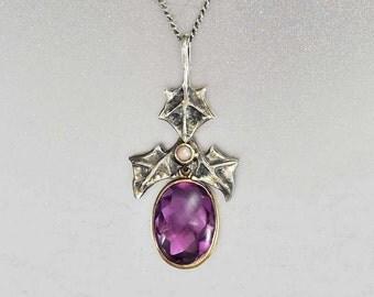 Art Nouveau Amethyst Necklace Pendant, 10K Gold Pendant Sterling Silver Ivy Leaf, Pearl Pendant, Antique Jewelry, Art Nouveau Jewelry