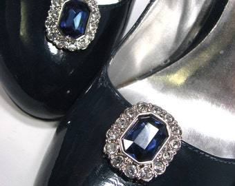 Blue Shoe Clips with White Rhinestones Midnight Blue Dark Navy Blue Octagon Shape 1 Pair Prom Wedding Jewels for Shoes Bride Accessories