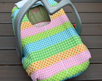 Car Seat Cover for Baby ~ Pastel Stripes, Winter Car Seat Blanket with Zipper for Infant, Baby Shower Gift under 50 USD