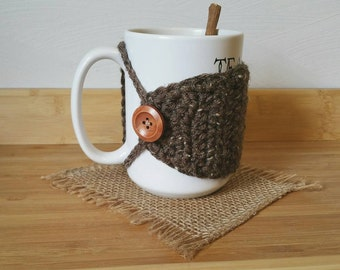 MUG COZY- Heather Tweed Crochet Mug Cozy