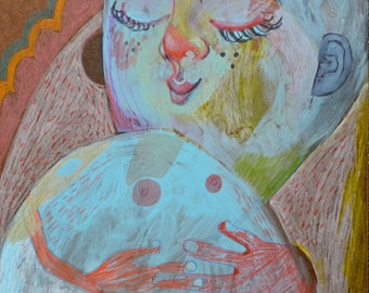 OOAK Original Contentment Painting on Panel