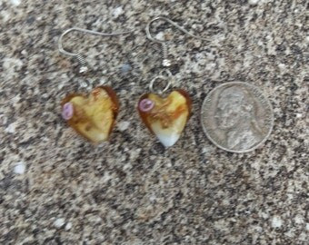 Gold Heart Murano Glass Earrings - 1 Pair