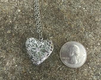 Silver Heart Locket Necklace