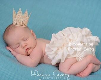 Handmade Ivory Cream Sassy Pants Ruffle Diaper Cover Bloomer Baby Toddler Girl